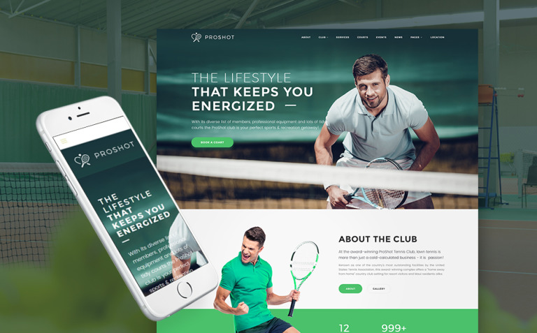 ProShot - Tennis Club Responsive WordPress Theme New Screenshots BIG