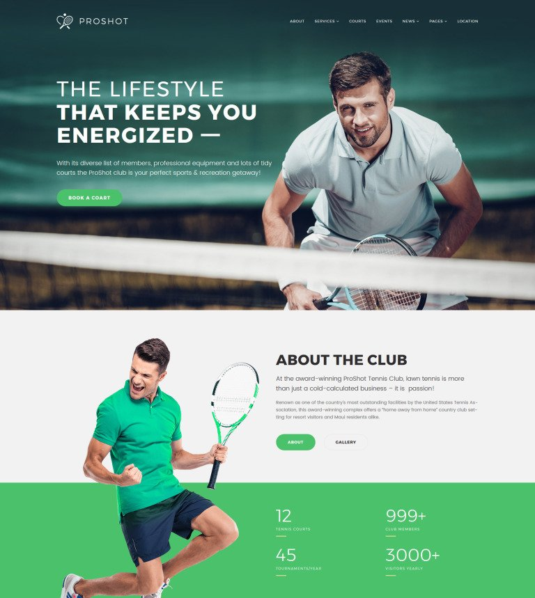 ProShot - Tennis Club Responsive WordPress Theme