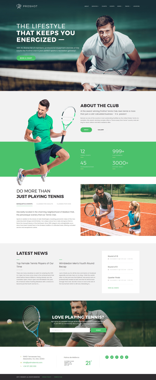 """ProShot - Tennis Club Responsive"" 响应式WordPress模板 #63811"