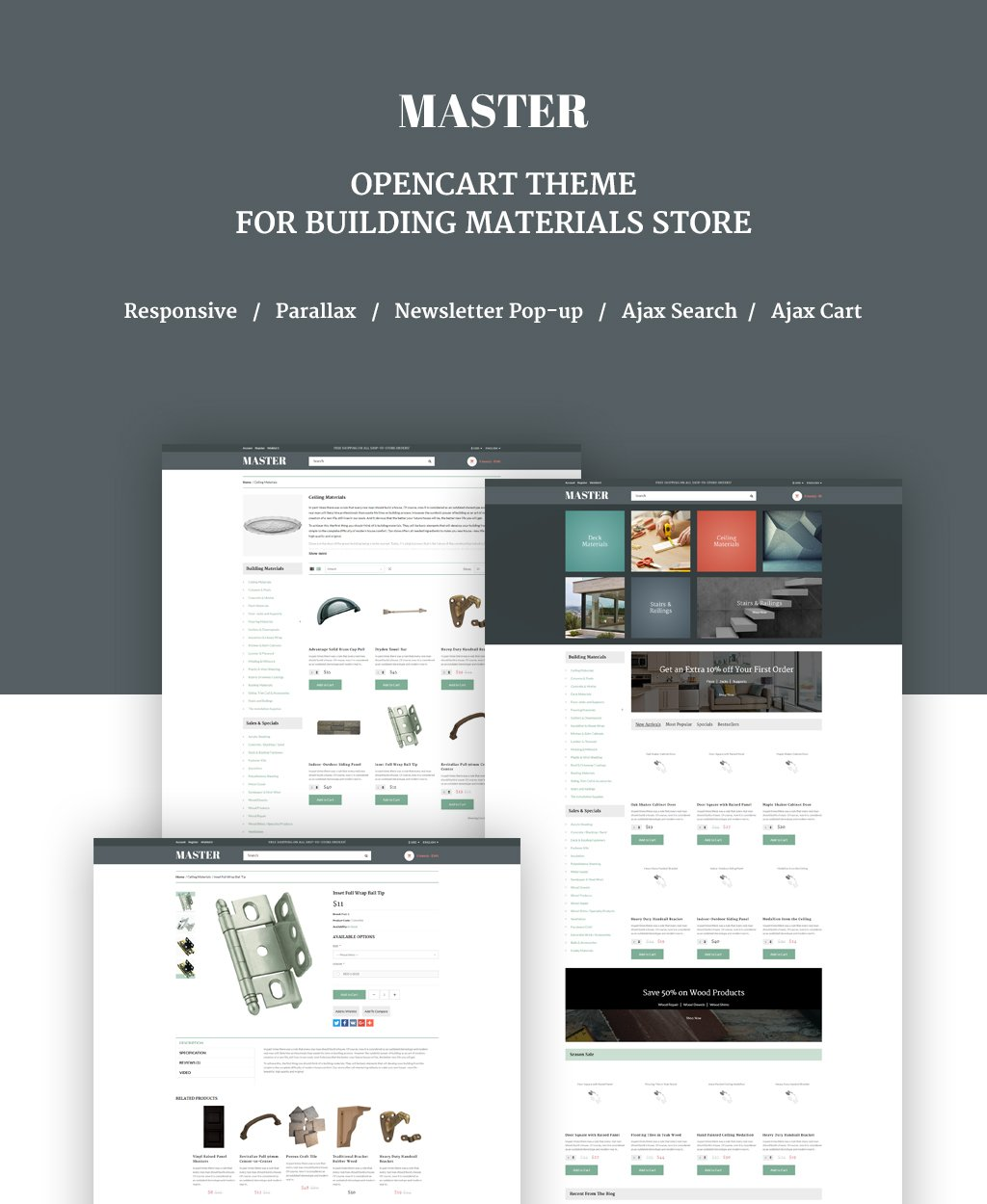 Responsive OpenCart Template over Bouwstoffen №63857 - screenshot