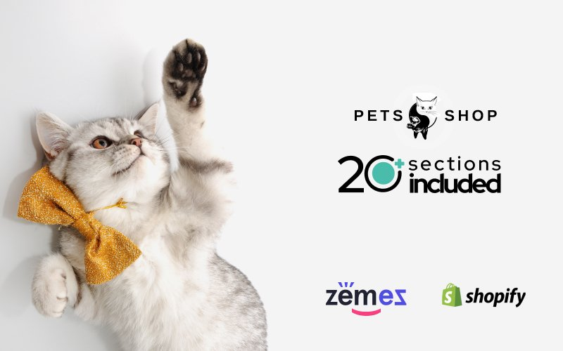 Responsywny szablon Shopify Pets Shop Design Template #63802
