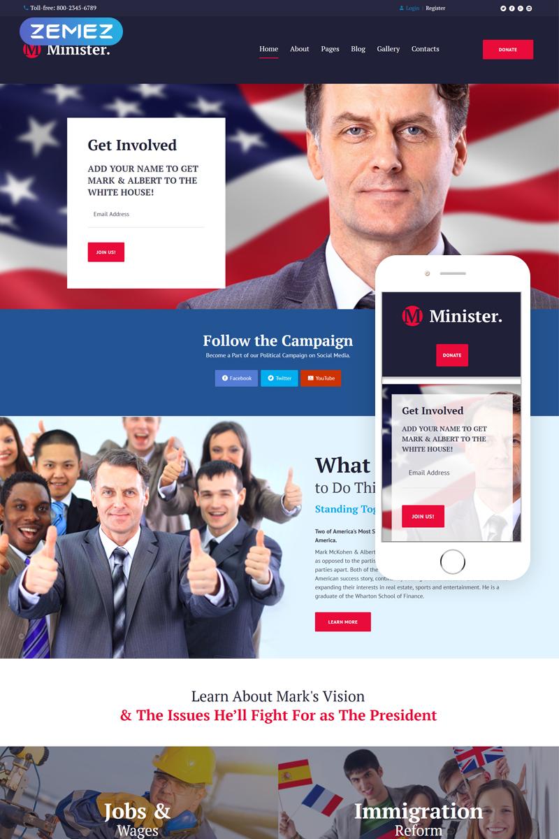 Reszponzív Politikus témakörű Joomla sablon 63877 - képernyőkép