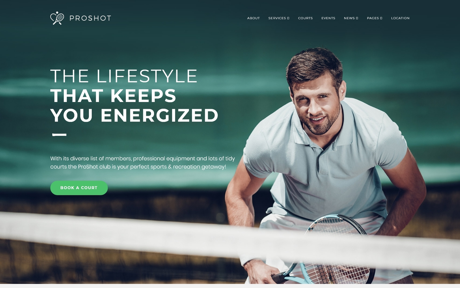 Reszponzív ProShot - Tennis Club Responsive WordPress sablon 63811