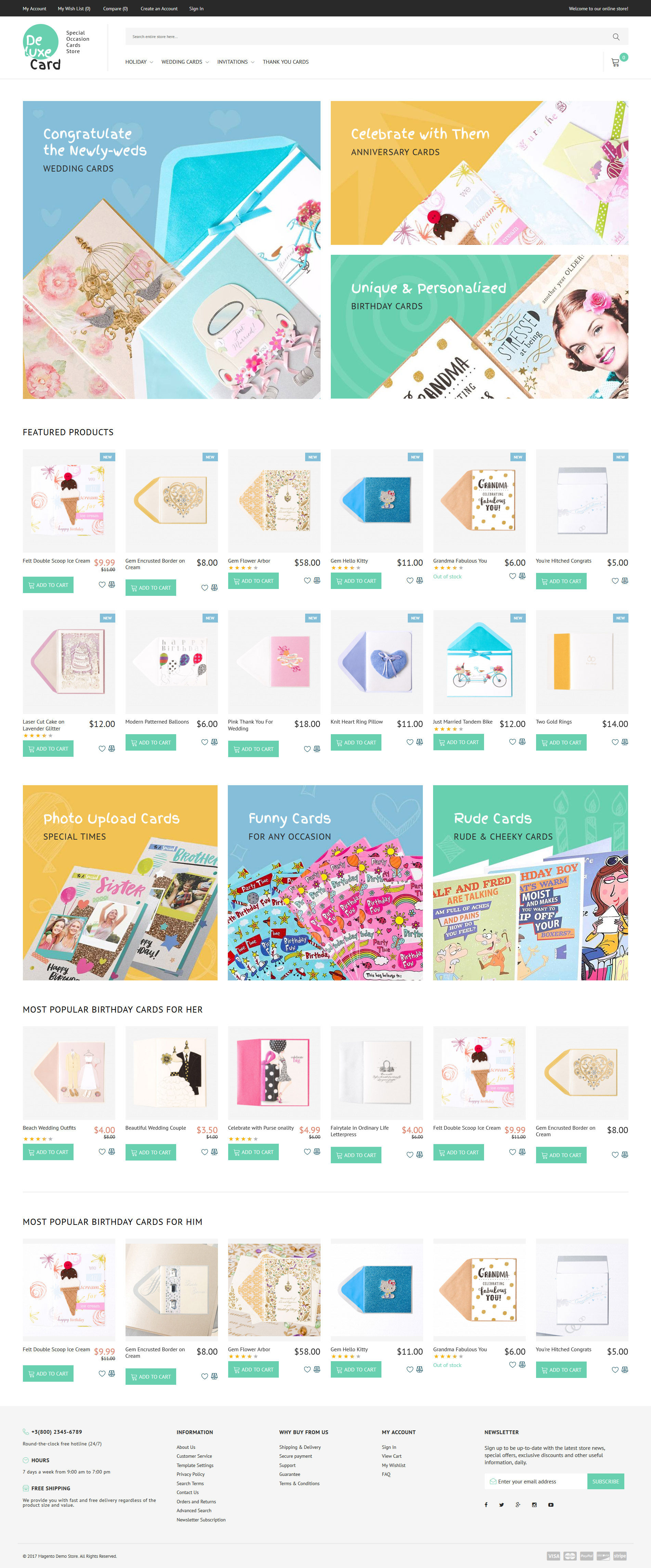 """Tema Magento Responsive #63846 """"Deluxe Card - Special Occasion Cards Store"""" - screenshot"""