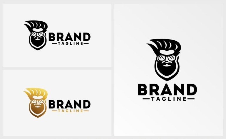 beard man logo template 63980