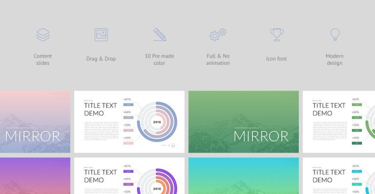 Mirror powerpoint template 63984 mirror multipurpose powerpoint template for business marketing education easily editable objects drag drop high quality minimal modern design toneelgroepblik Image collections