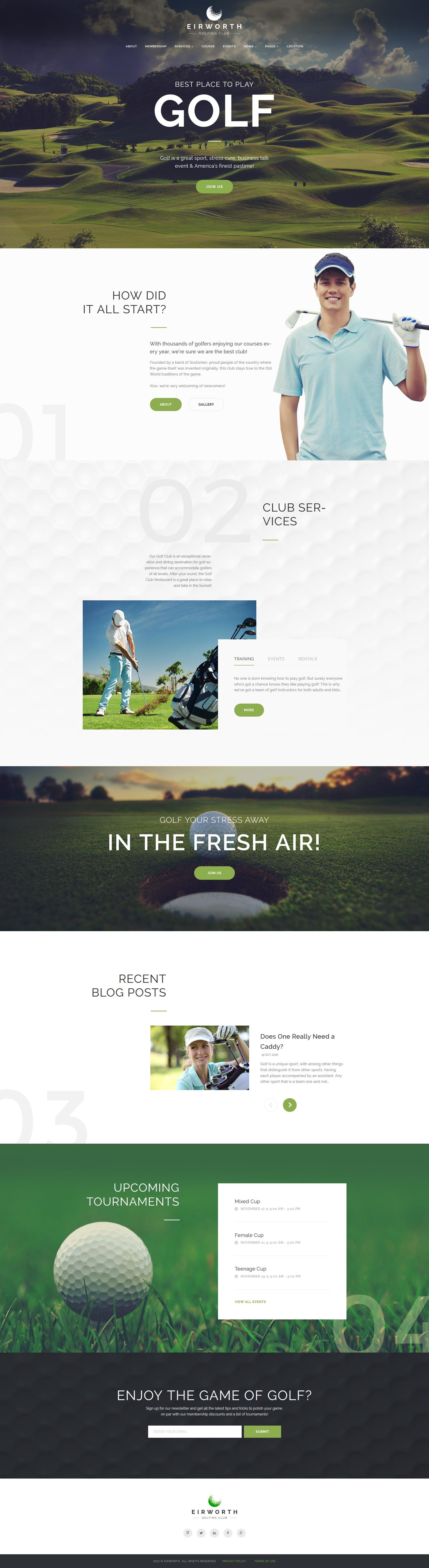 Адаптивный шаблон сайта на тему гольф #63966