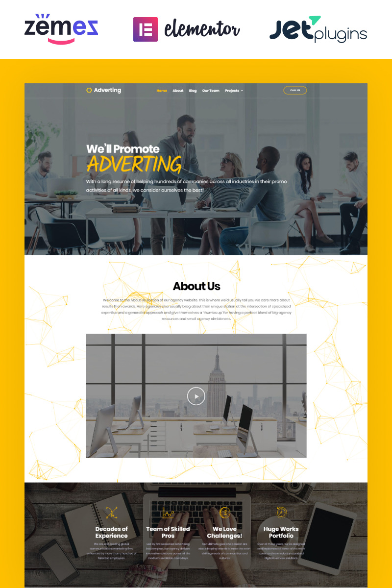 """Adverting - Advertising Agency Responsive WordPress Theme"" 响应式WordPress模板 #63935"