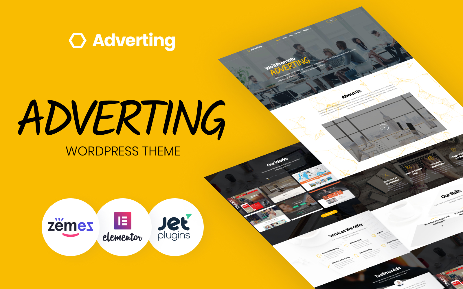 """Adverting - Advertising Agency Responsive"" 响应式WordPress模板 #63935"