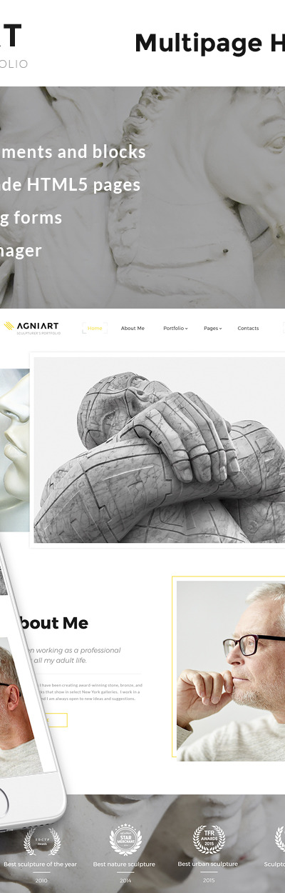 Agniart Sculptor Photo Gallery Website Template