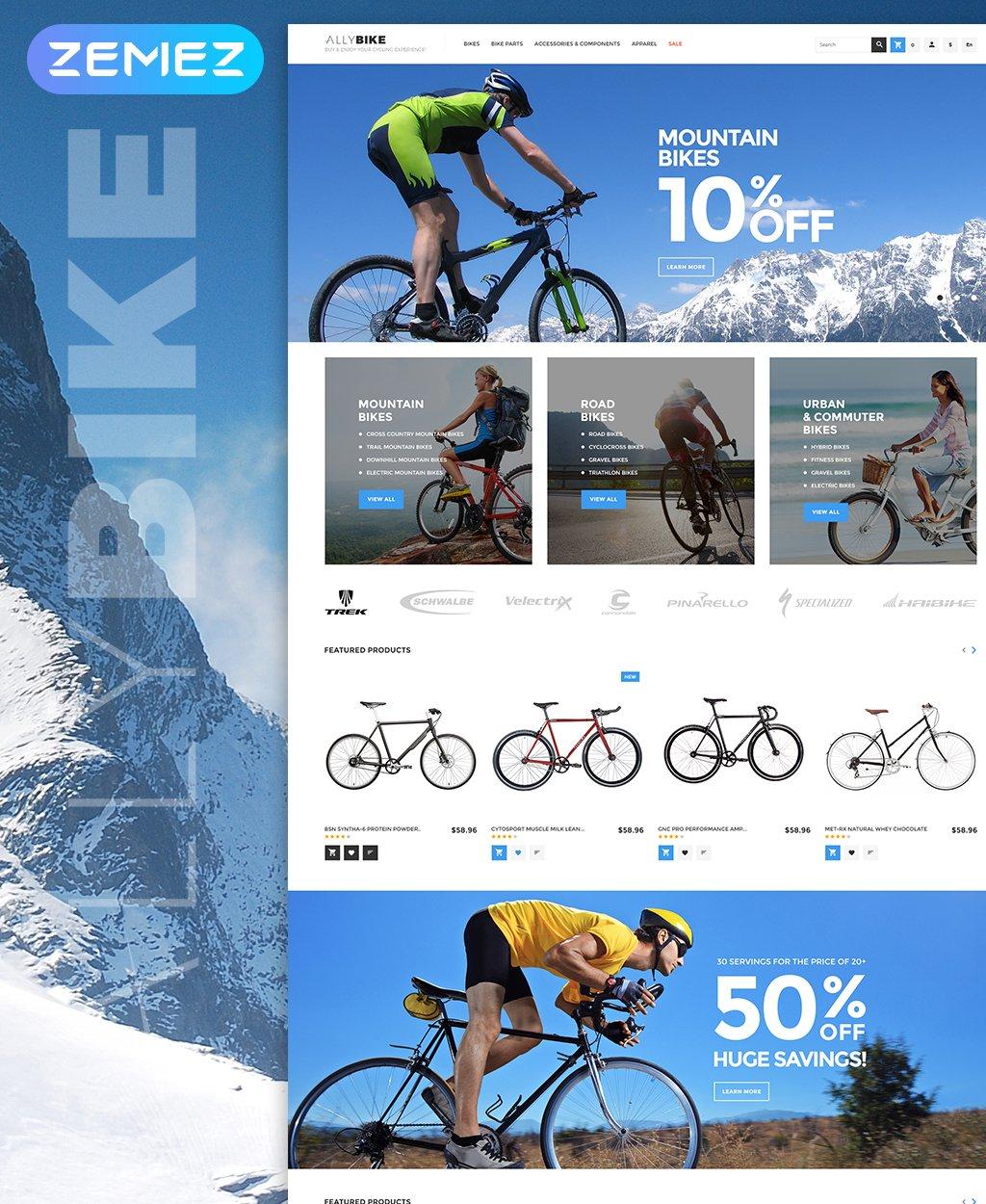 """AllyBike - Cycling Supplies Store Responsive"" Responsive Magento Thema №63977"