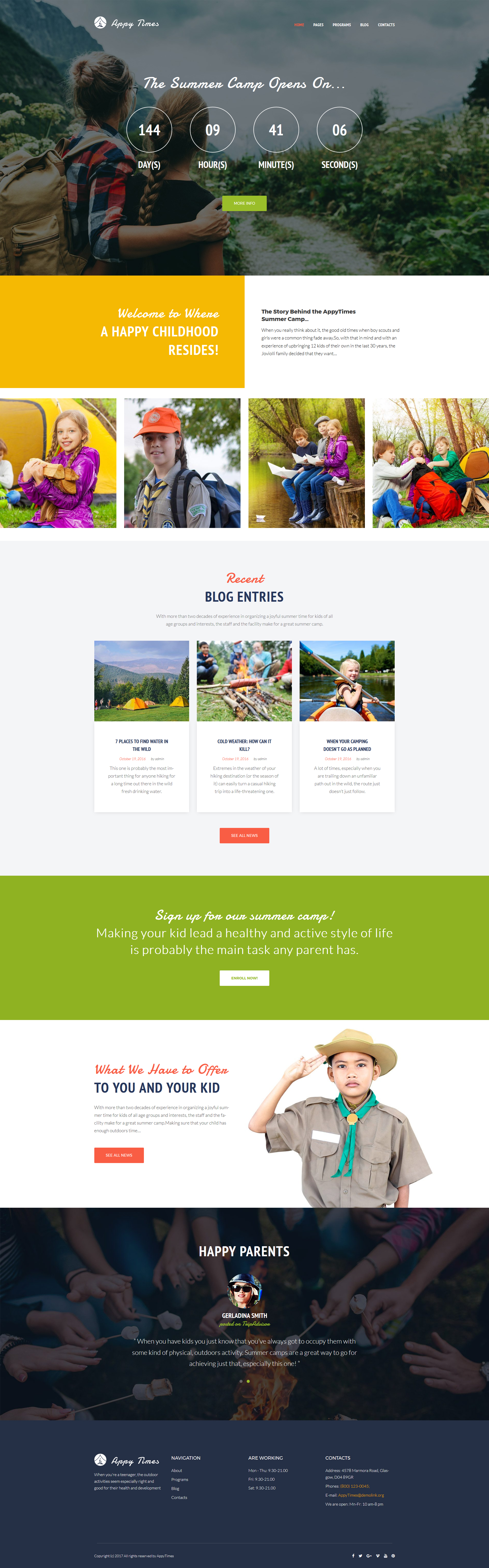 """""""AppyTimes - Camp d'été"""" thème WordPress adaptatif #63919"""