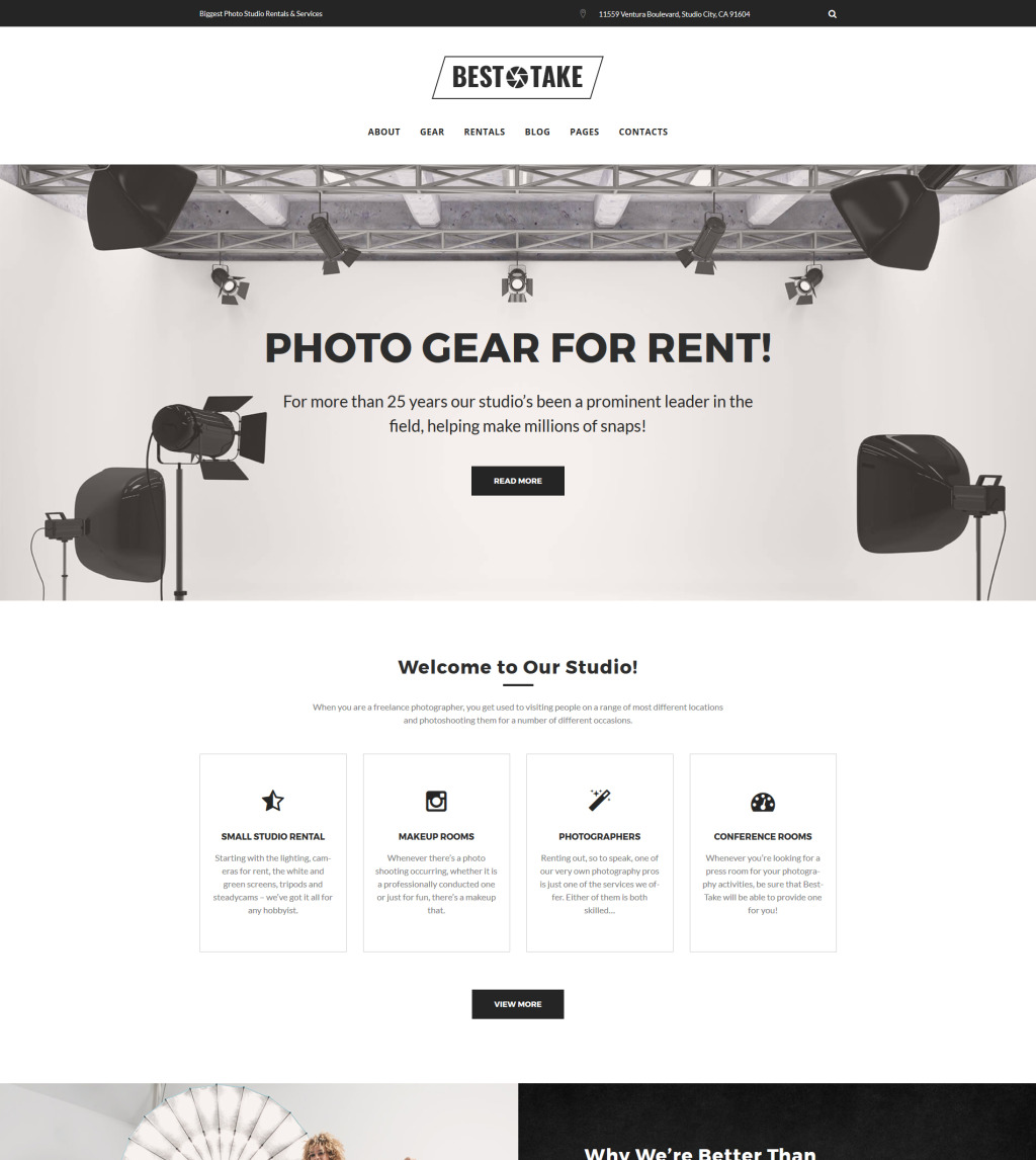 Image result for BestTake - Photo Studio Rentals and Services WordPress Theme