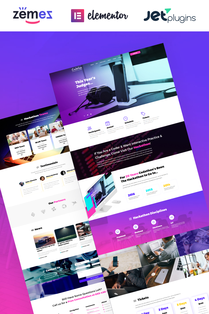 """Codathon - Hackathon for Coders Landing"" thème WordPress adaptatif #63940"