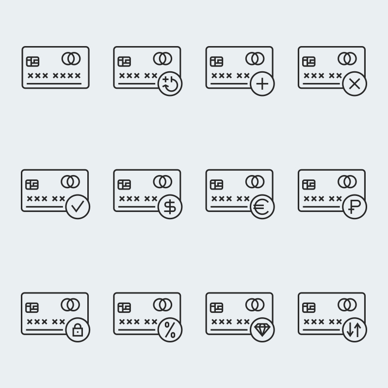 Credit card vector Iconset Template