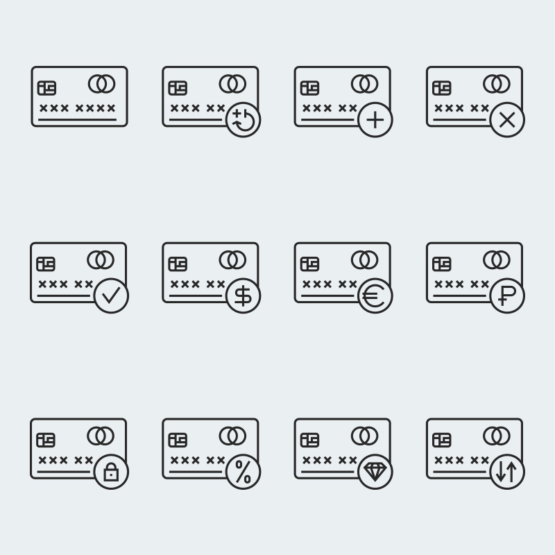 Credit Card Vector Iconset Template #63916