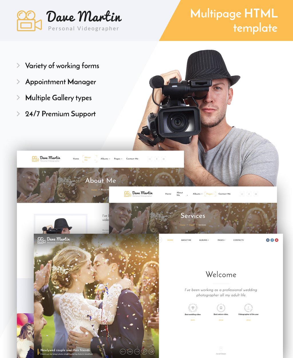 """Dave Martin - Videographer Responsive HTML5"" - адаптивний Шаблон сайту №63943"