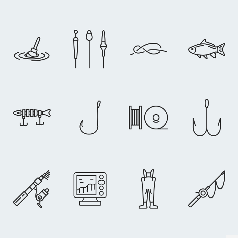 Fishing vector icons vol.1 Iconset Template