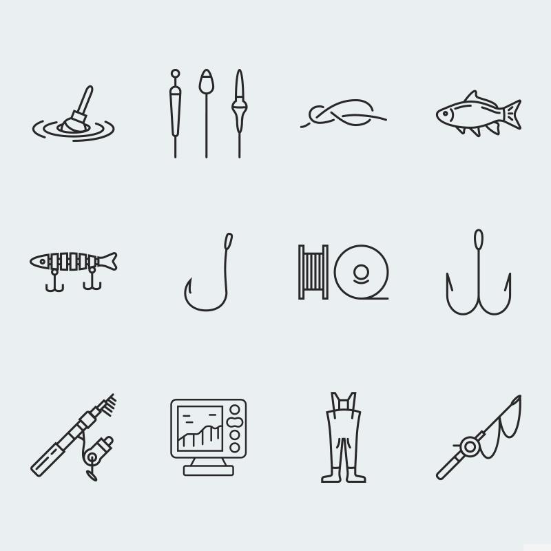"""Fishing vector icons vol.1"" 图标集模板 #63923"