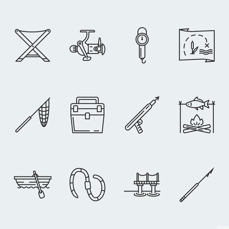 Fishing vector icons vol.2 Iconset Template