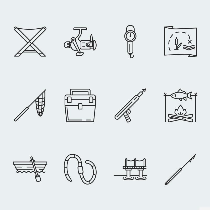 """Fishing vector icons vol.2"" 图标集模板 #63924"