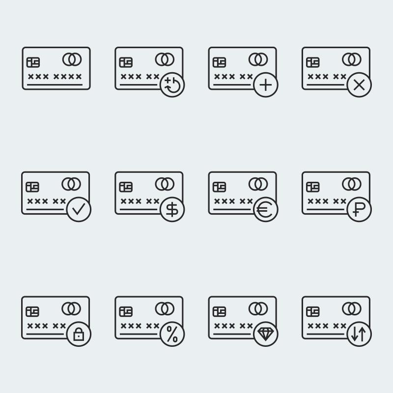 "Iconset šablona ""Credit card vector"" #63916"