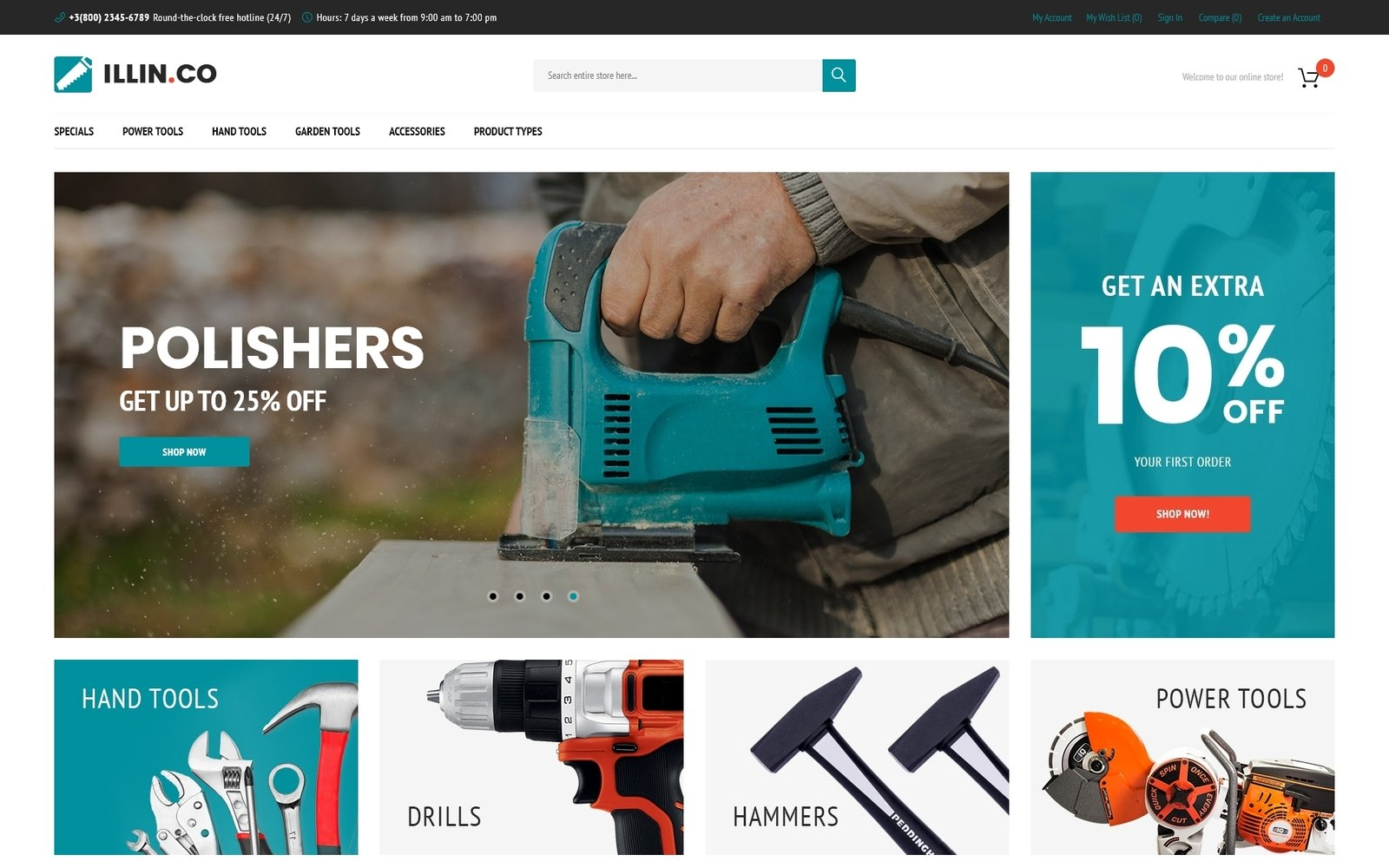"""Illin.co - Tools & Equipment"" 响应式Magento模板 #63976"