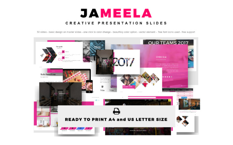 Jameela beautifully creative presentation PowerPoint Template New Screenshots BIG