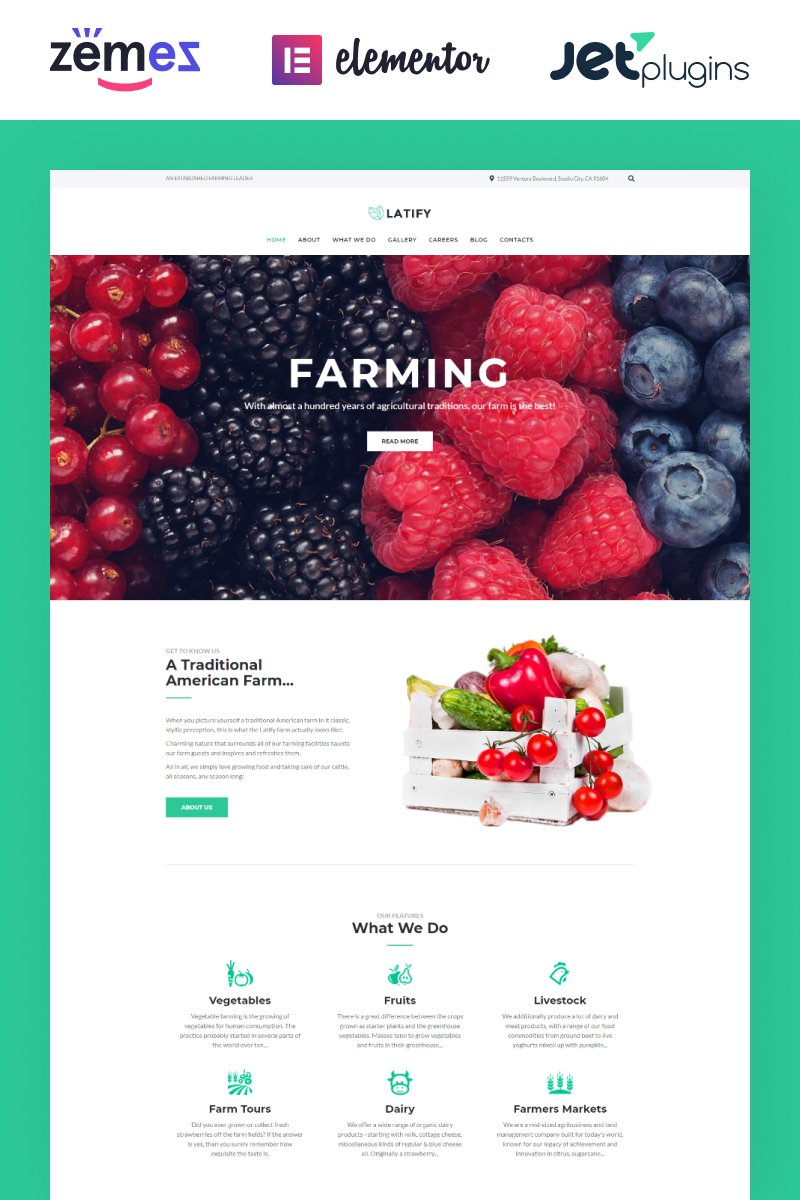 """""""Latify - Private Farm Responsive"""" - адаптивний WordPress шаблон №63957 - скріншот"""