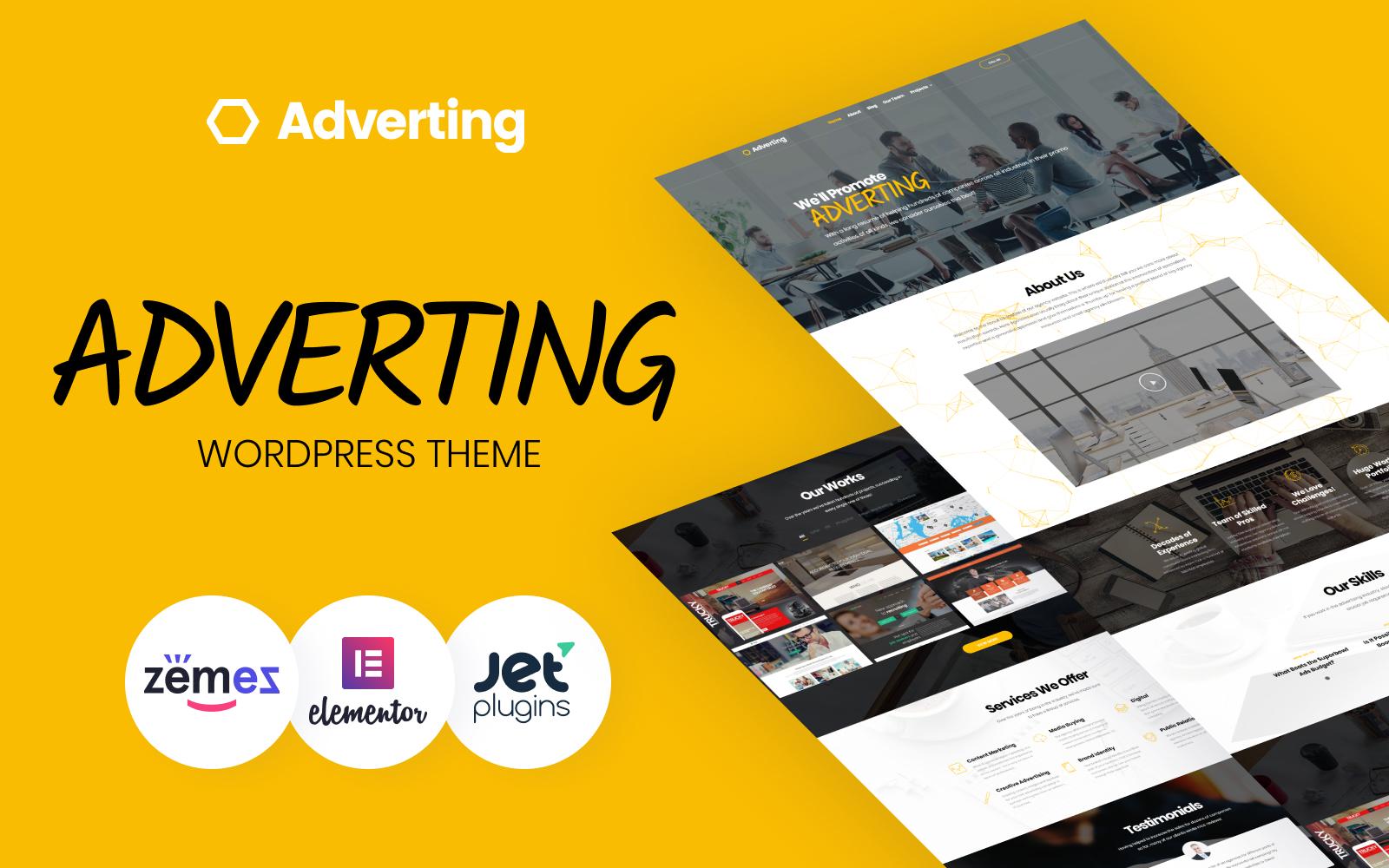 "Modello WordPress Responsive #63935 ""Adverting - Advertising Agency Responsive"""