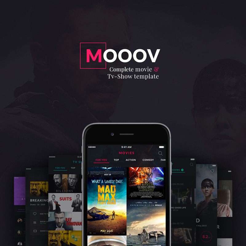 MOOOV Movie & Tvshow mobile template UI Elements