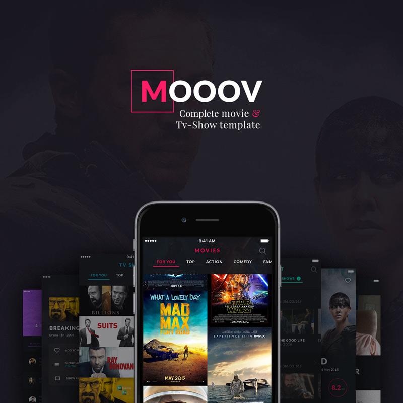 """MOOOV Movie & Tvshow mobile template"" UI元素 #63910 - 截图"