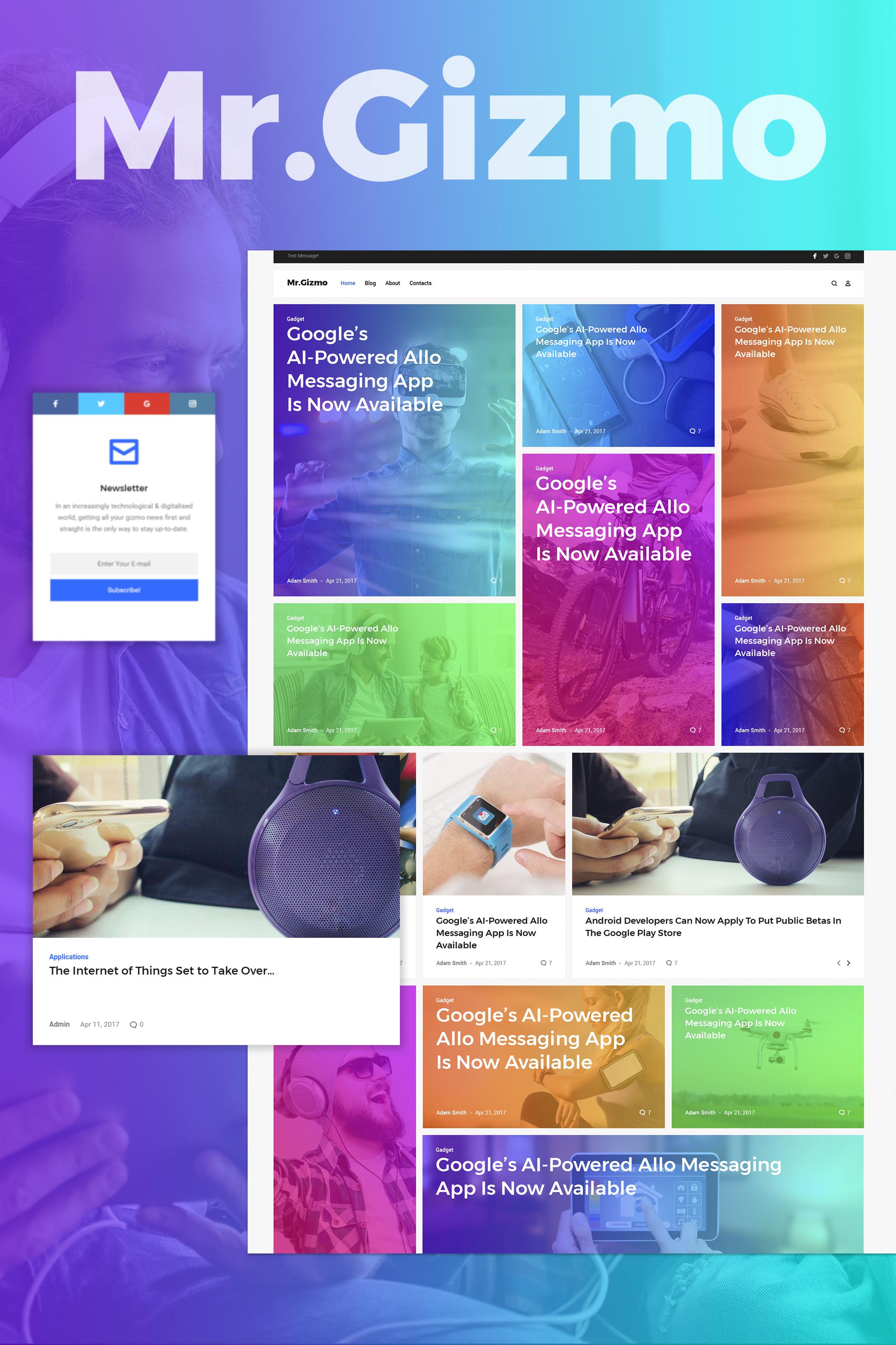 """Mr. Gizmo - Responsive Technology & Gadgets Blog WordPress Theme"" - адаптивний WordPress шаблон №63987"