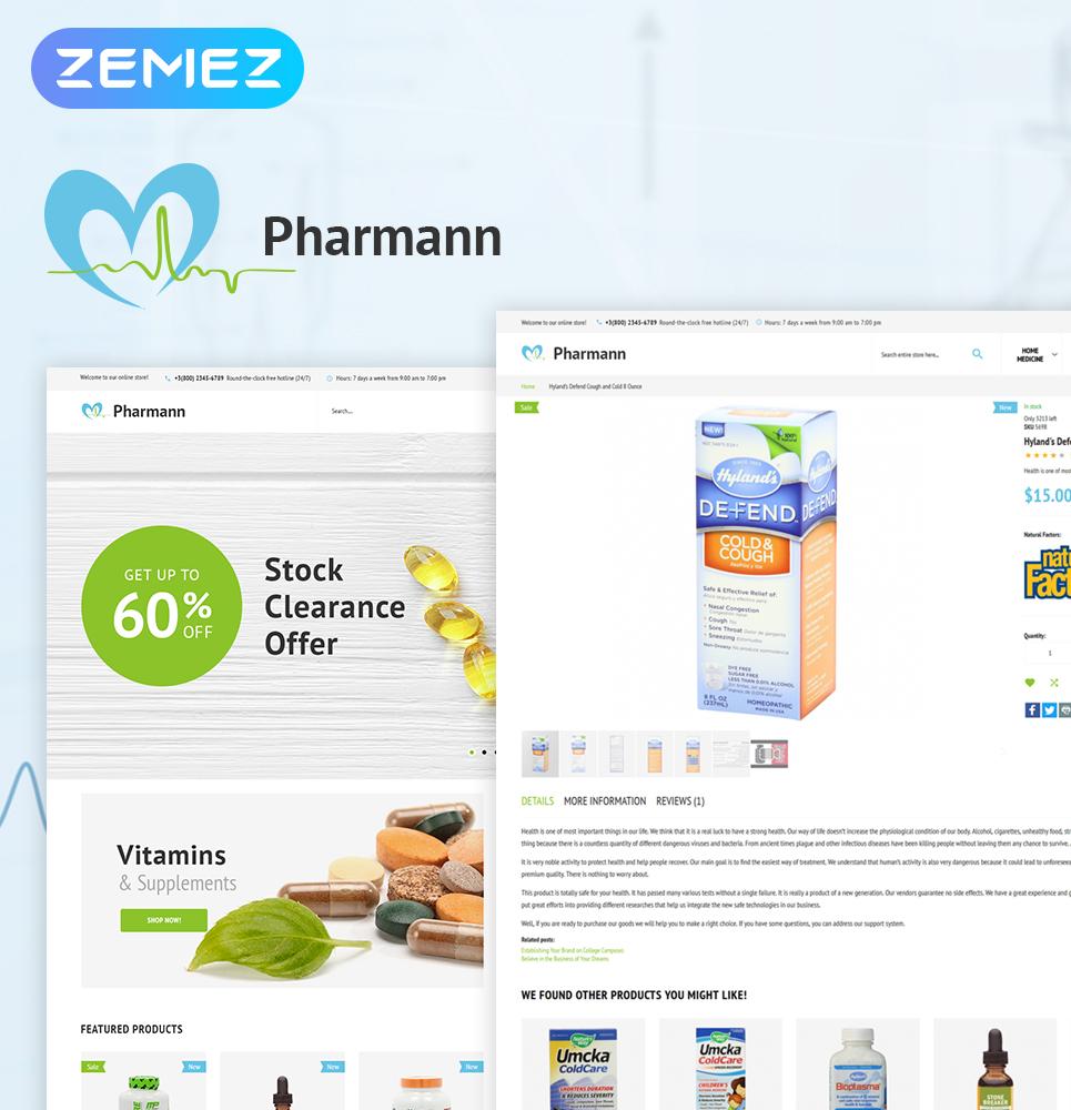 """Pharmann - Drug Store"" - адаптивний Magento шаблон №63975"