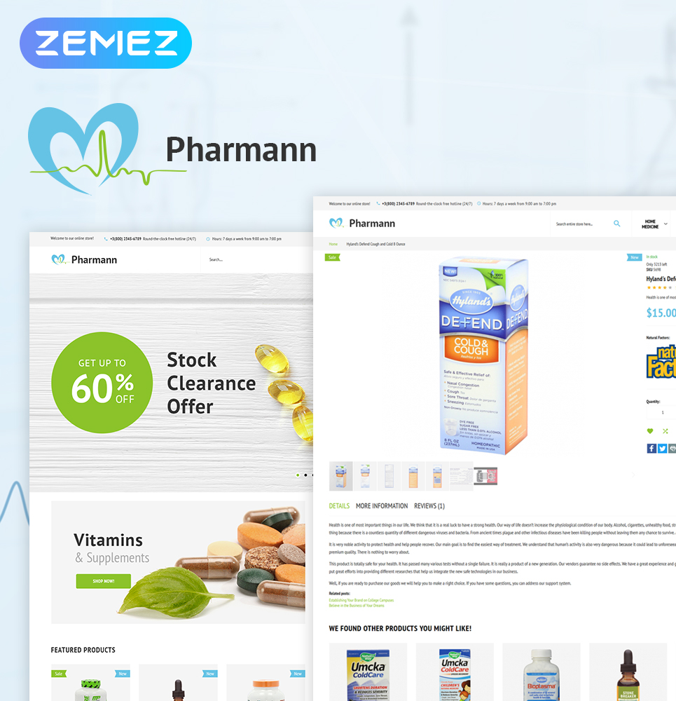 """Pharmann - Drug Store"" thème Magento adaptatif #63975"