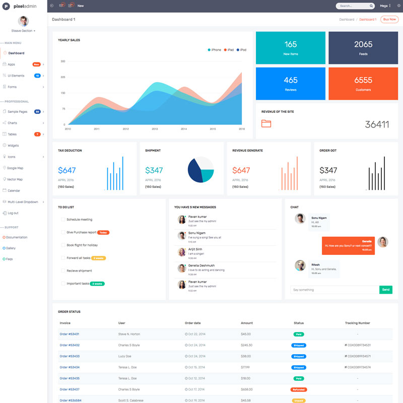 Pixel Admin Responsive Bootstrap Admin Template 63947