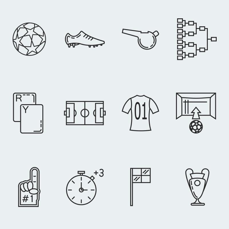 Plantilla de Conjunto de Iconos #63917 para Sitio de Fútbol