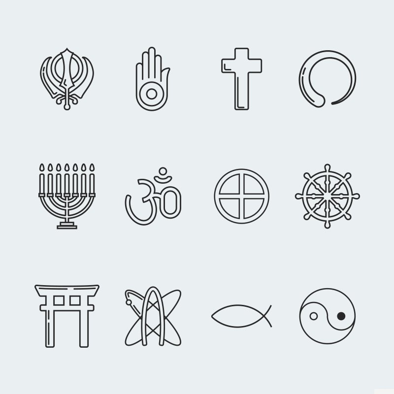 Religion vector icon set vol. 3 Iconset Template