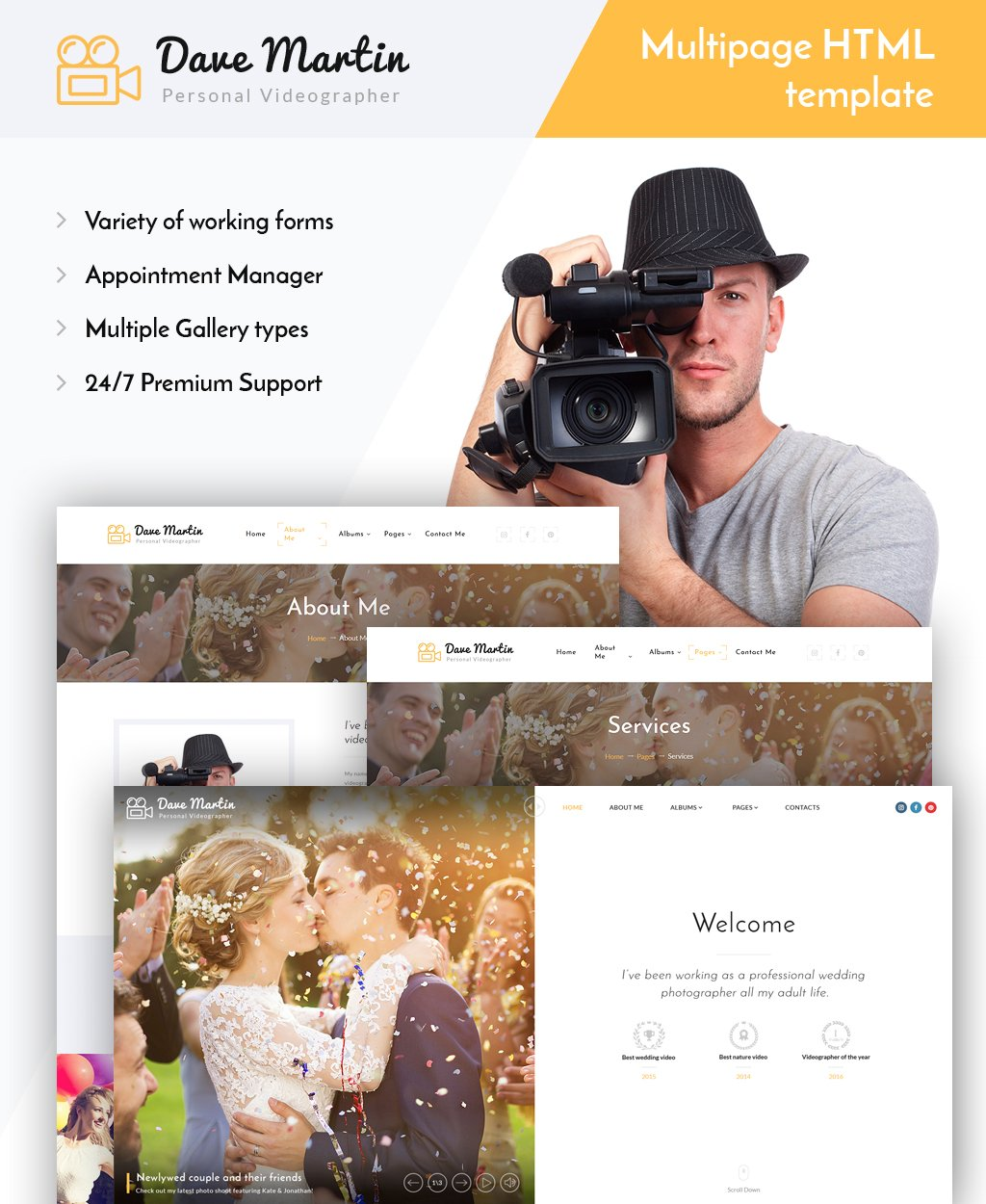 Responsive Dave Martin - Videographer Responsive HTML5 Web Sitesi #63943