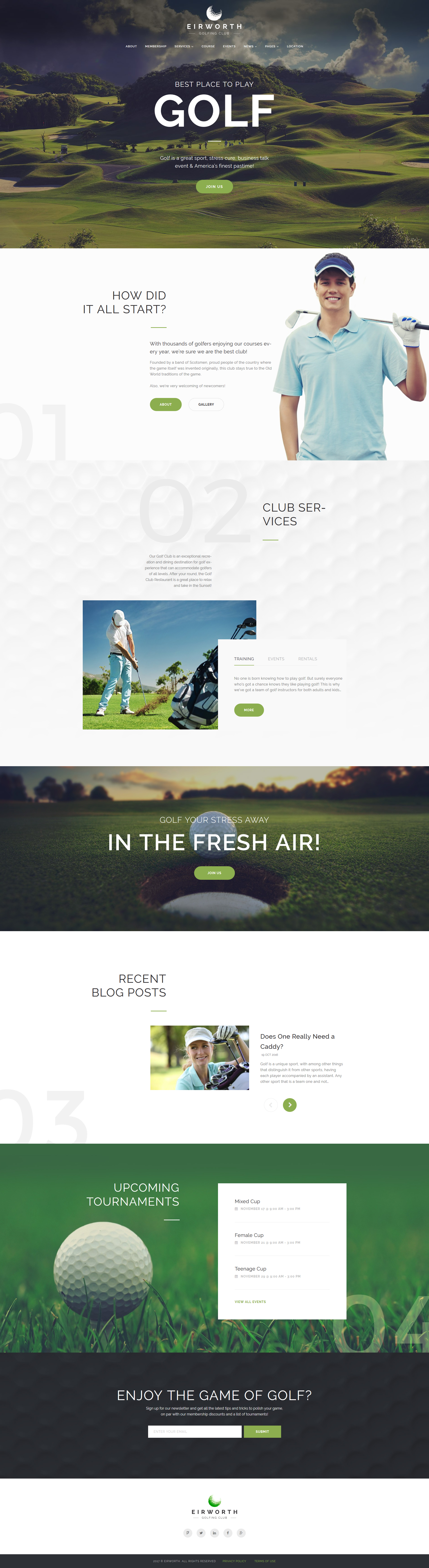 Responsywny motyw WordPress Eirworth - Golfing Club Responsive #63966