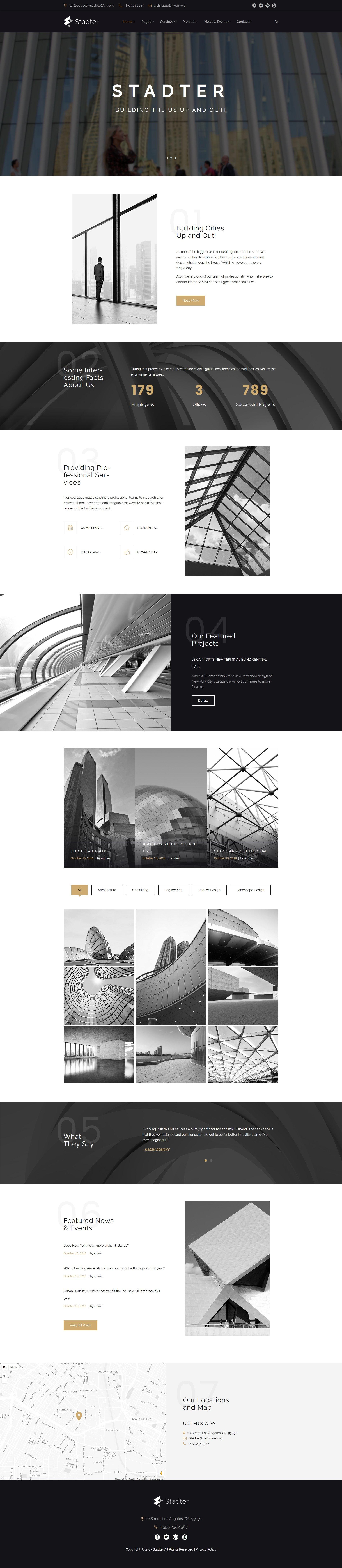 Responsywny motyw WordPress Stadter - firma budowlana #63956 - zrzut ekranu