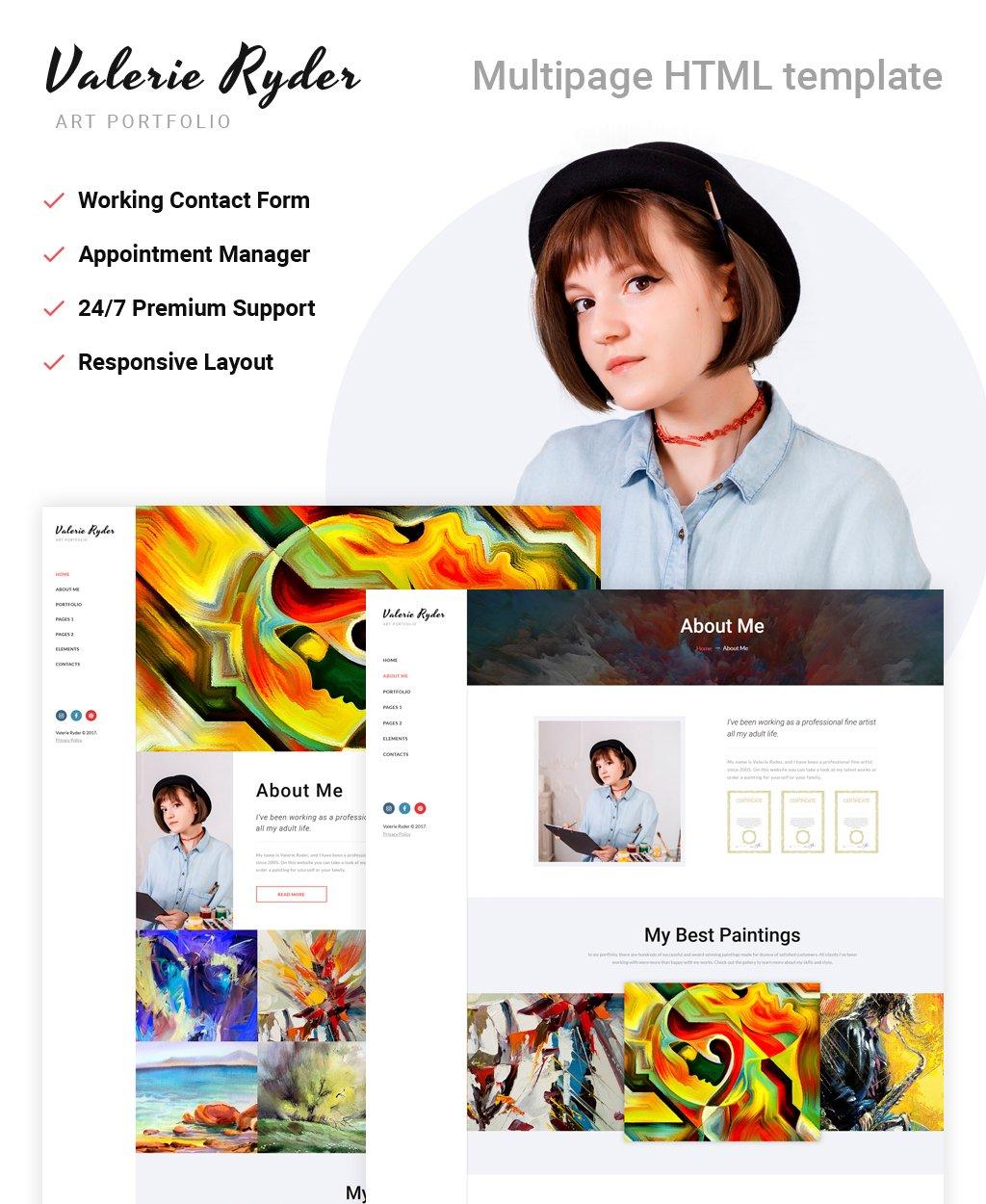 Reszponzív Valerie Ryler - Artist Portfolio Responsive HTML5 Weboldal sablon 63944