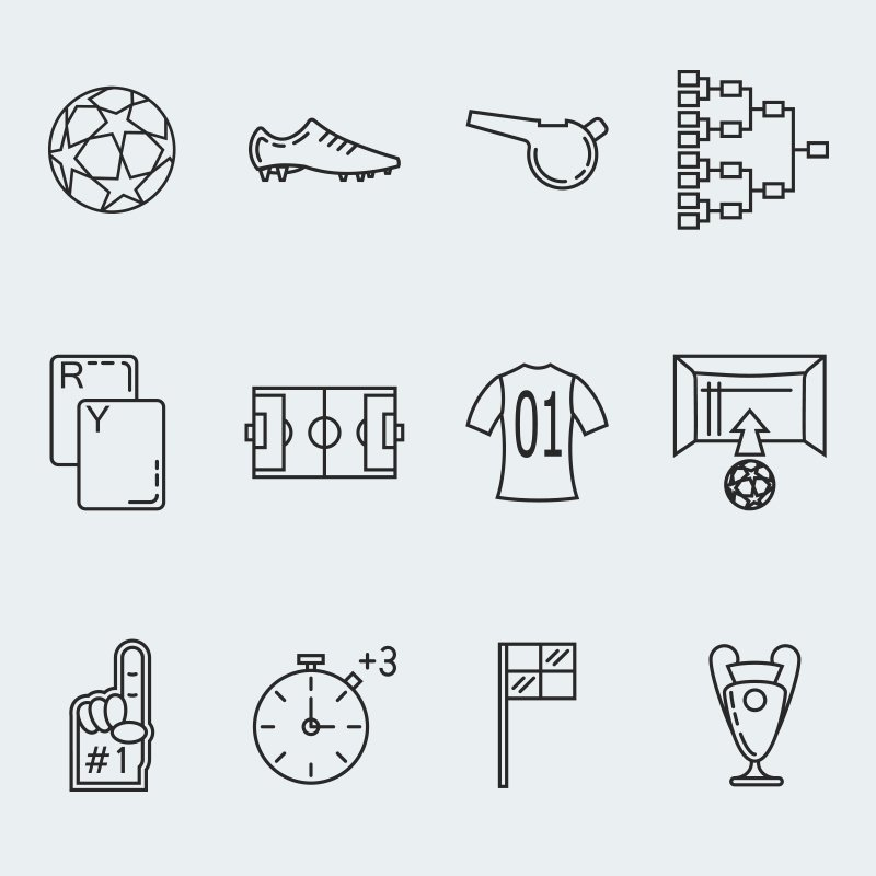 Soccer vector Iconset Template