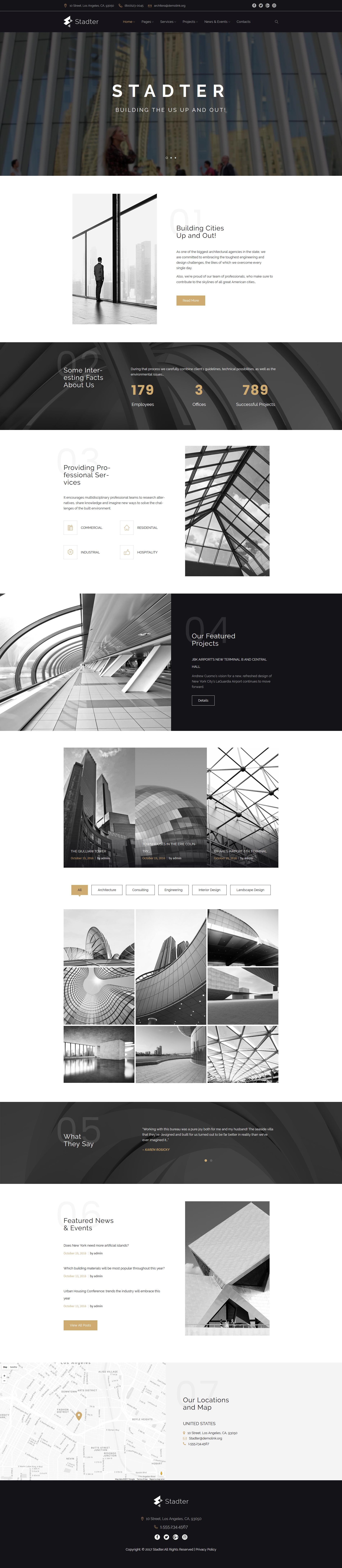"""Stadter - Construction Company"" - адаптивний WordPress шаблон №63956"