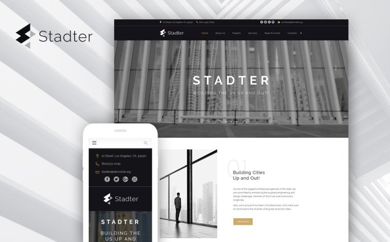 Stadter - Construction Company WordPress Theme New Screenshots BIG