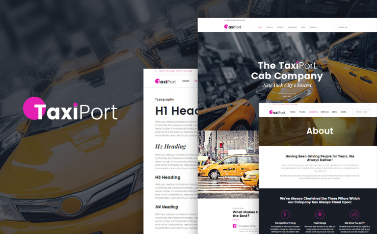 TaxiPort - Cab Company WordPress Theme New Screenshots BIG