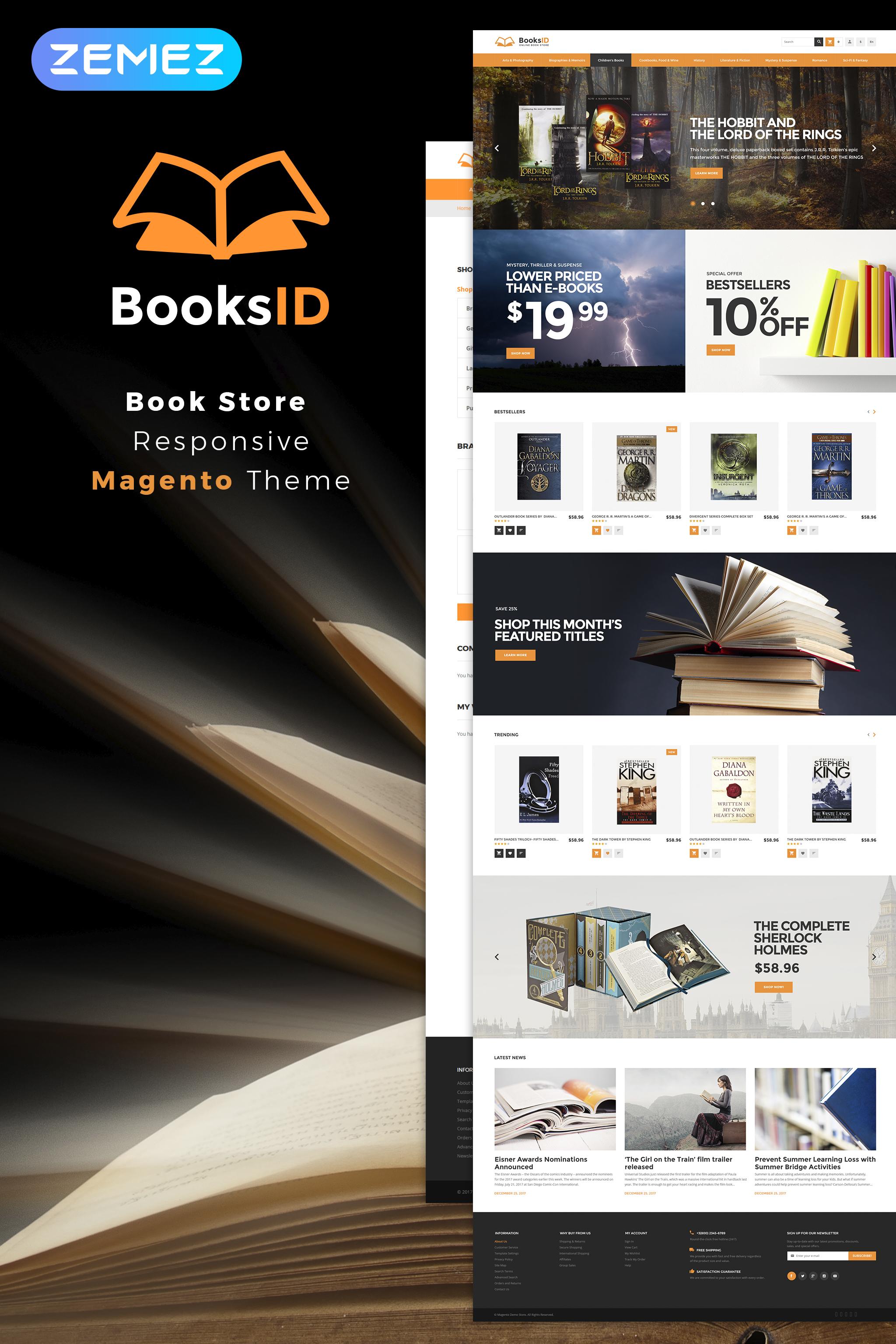 "Tema Magento ""BooksID - Book Store"" #63978"