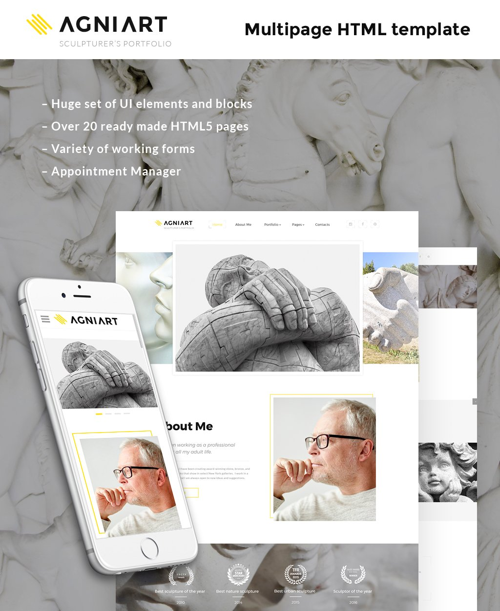 "Tema Siti Web Responsive #63945 ""Agniart Sculptor Photo Gallery"""