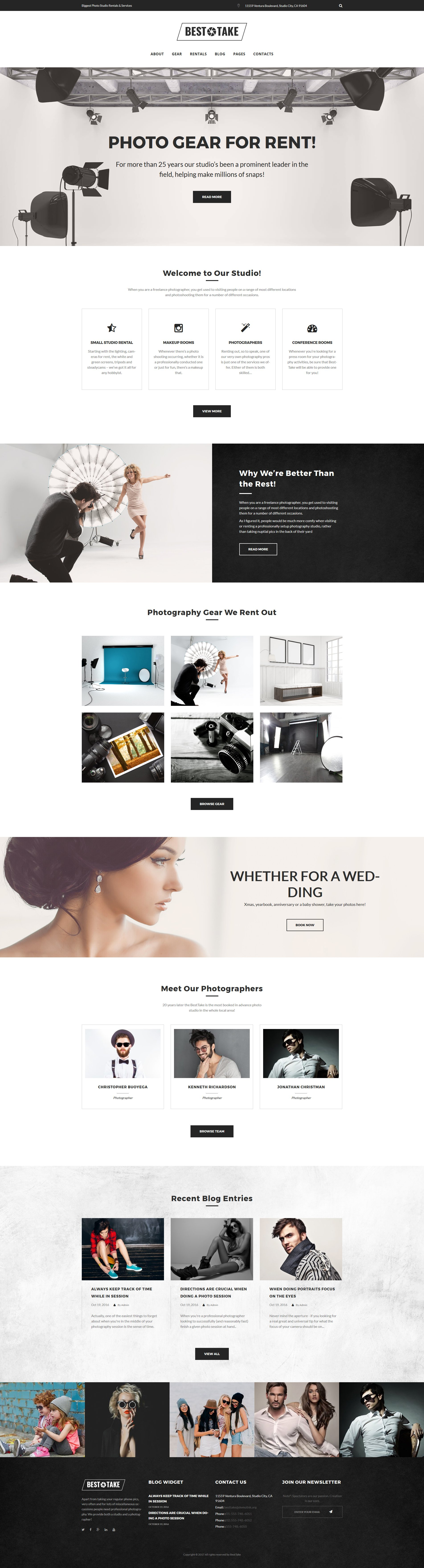 "Tema WordPress Responsive #63963 ""BestTake - Photo Studio Rentals & Services Responsive"""