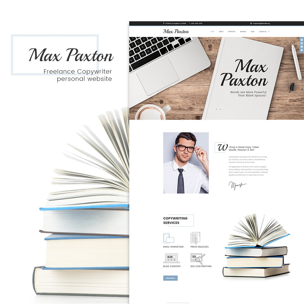 """WordPress Theme namens """"MaxPaxton - Freiberuflicher Texter und Journalist"""" #63996 - Screenshot"""